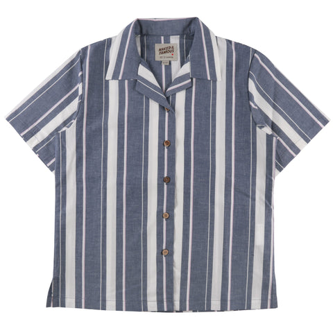 Women's - Camp Collar Shirt - Blue Chambray Slub Stripe