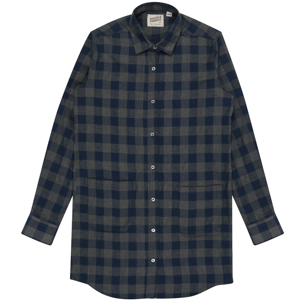 Women's - Long Shirt - Herringbone Check - Navy/Grey