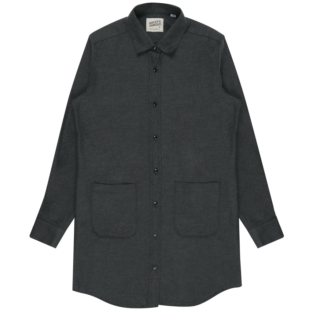 Women's - Long Shirt - Soft Brushed Twill - Charcoal