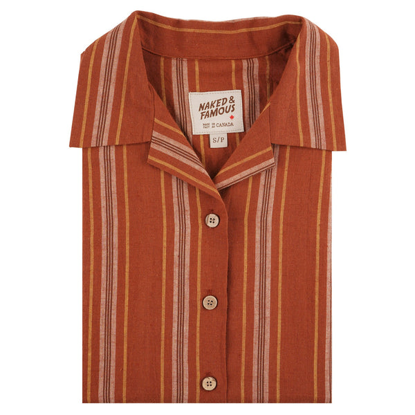 Camp Collar Shirt - Sahara Stripe - Brick - folded collar view