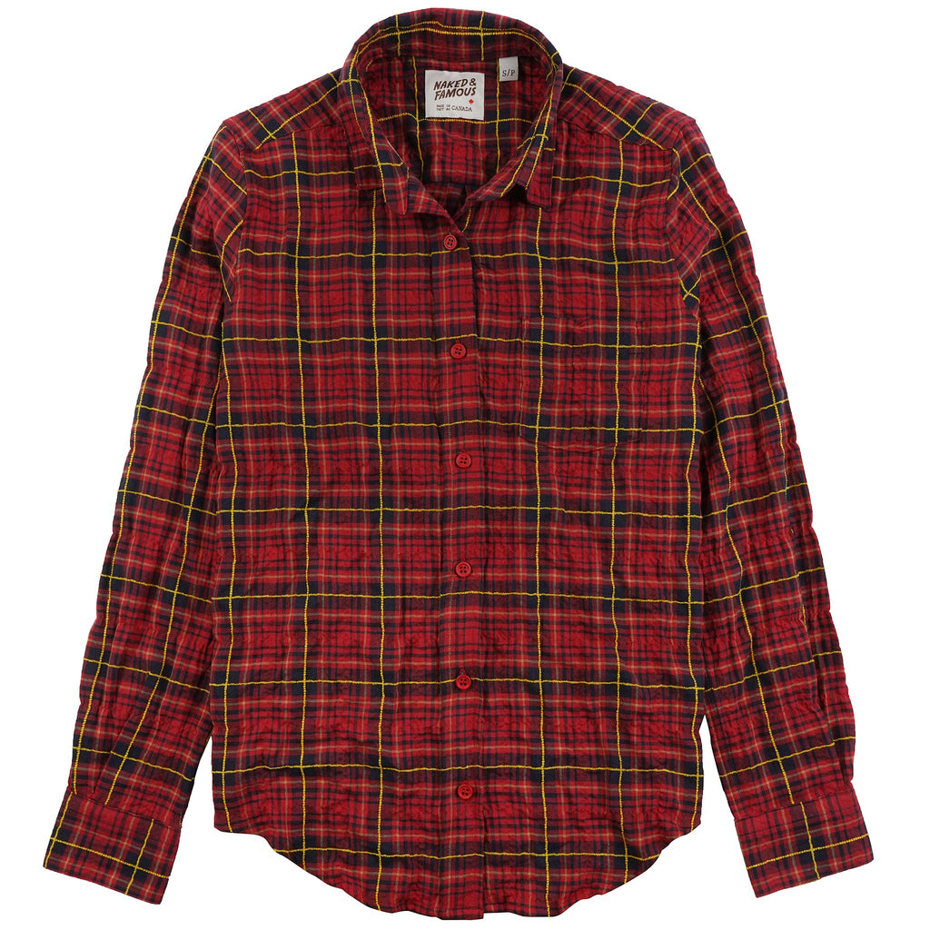 Women's Country Shirt Folk Flannel Red/Yellow - front