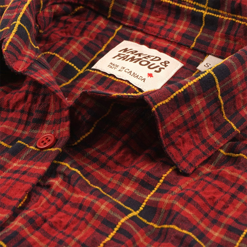 Women's Country Shirt Folk Flannel Red/Yellow - collar
