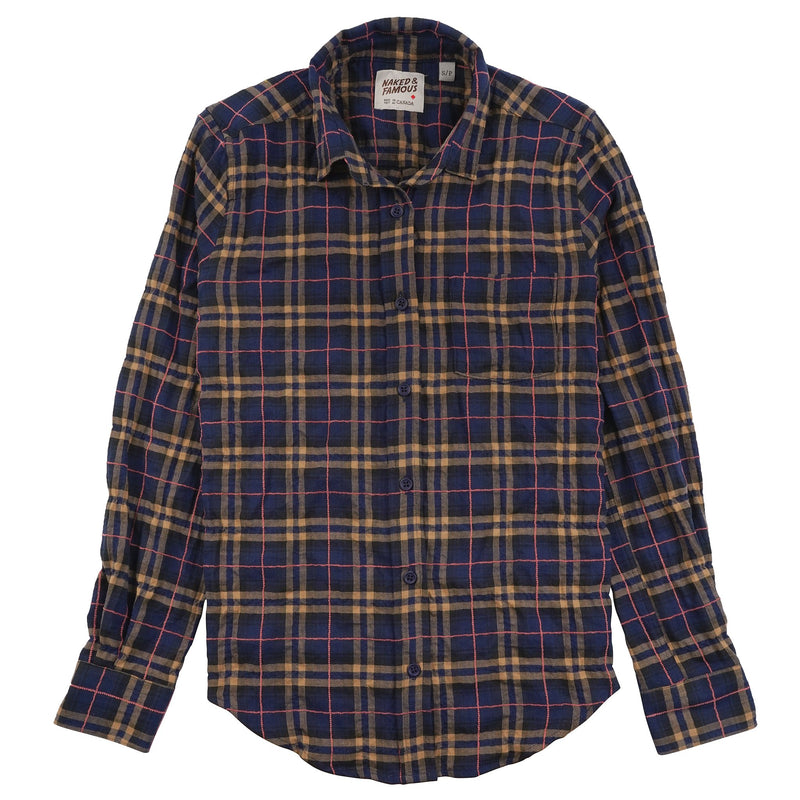 Women's Country Shirt Folk Flannel Navy/Pink - front