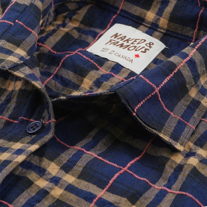 Women's Country Shirt Folk Flannel Navy/Pink - collar