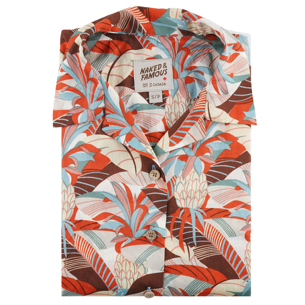 Camp Collar Shirt - Jungle Vacantion - Orange / Teal - folded collar view