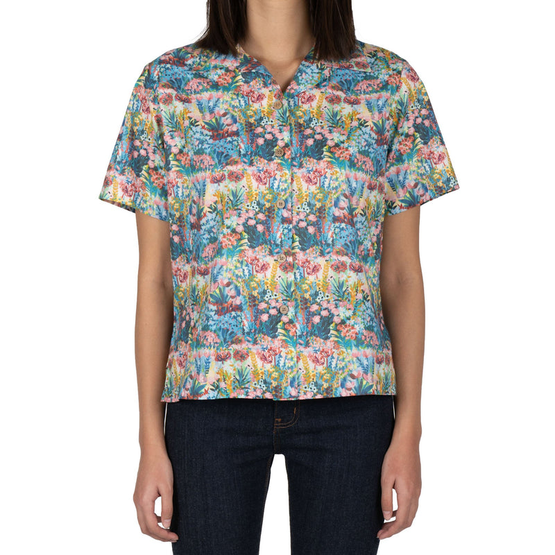Collar Camp Shirt - Flower Painting - Multi Color
