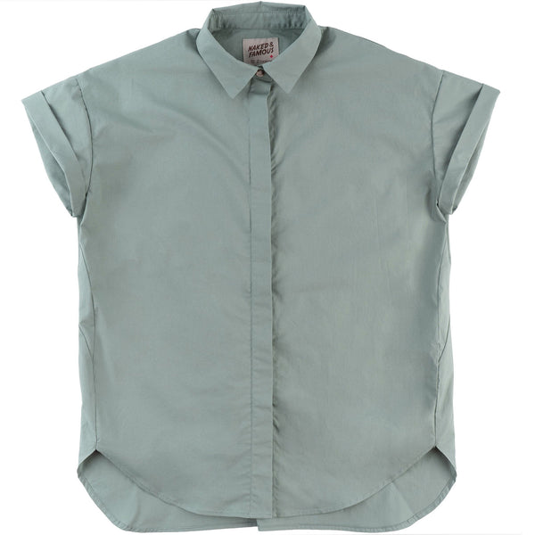 Bubble Blouse - Cotton Typewriter - Cyan