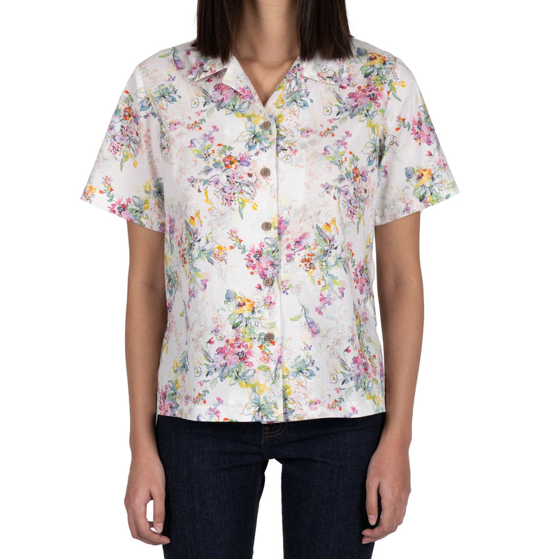 Collar Camp Shirt - Flower Painting - White