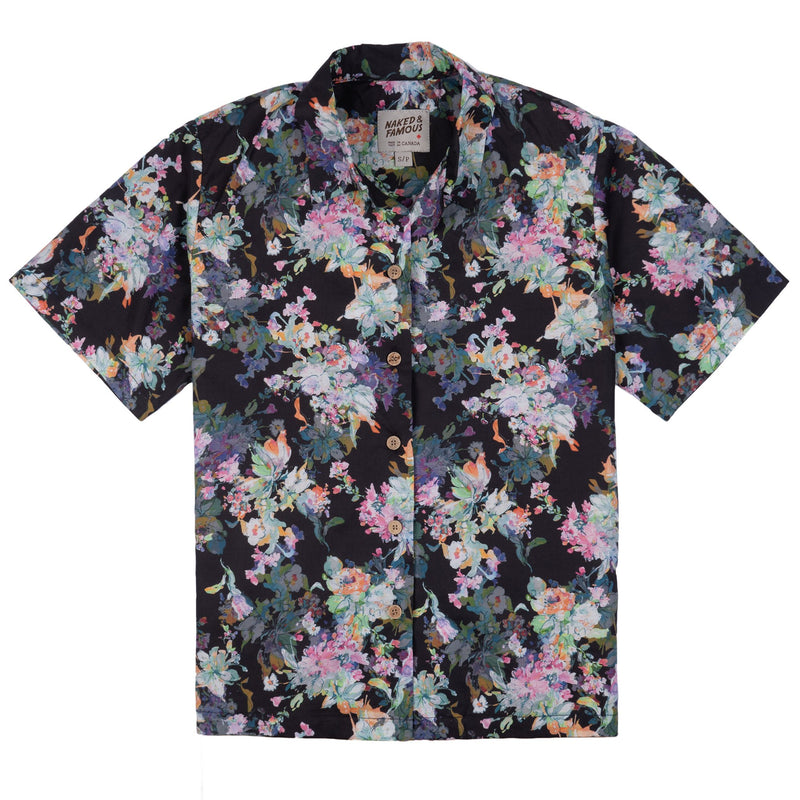 Collar Camp Shirt - Flower Painting - Black