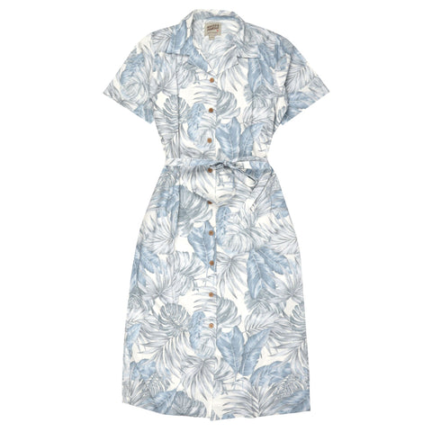 Women's - Aloha Dress - Tropical Leaves - White | Naked & Famous Denim