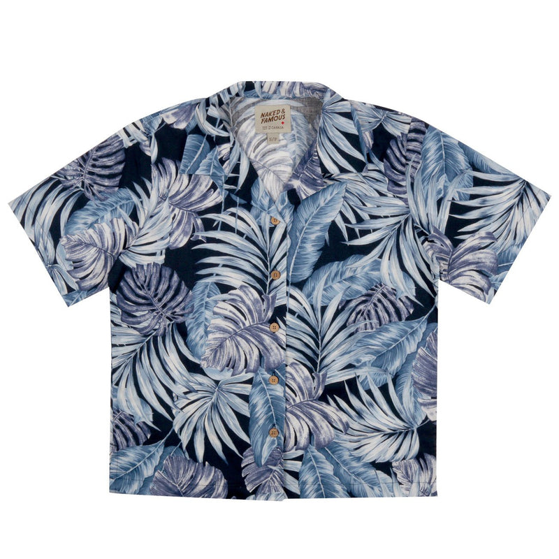 Women's - Aloha Shirt - Tropical Leaves - Navy