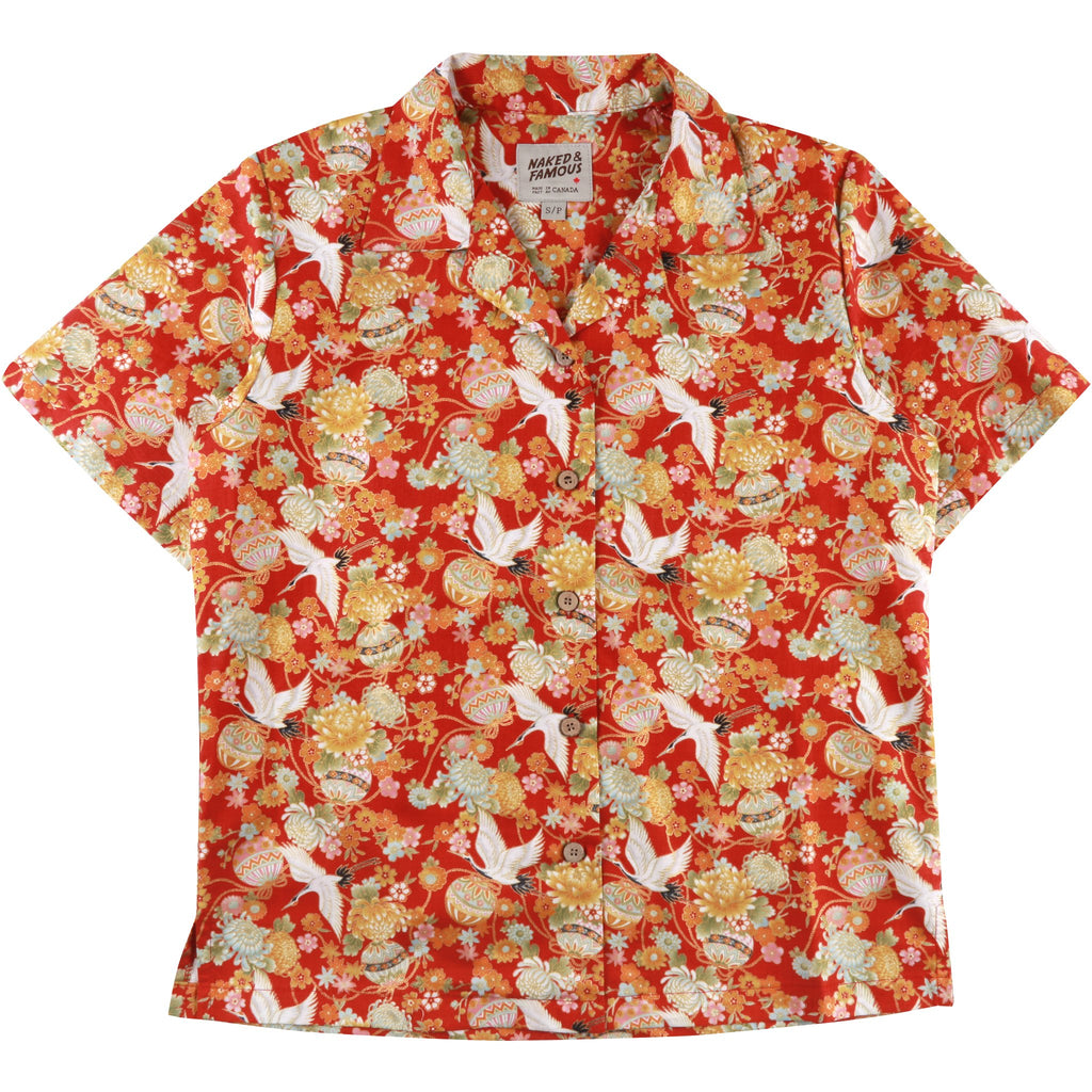 Women's - Camp Collar Shirt - Red Japan Tsuru Festival