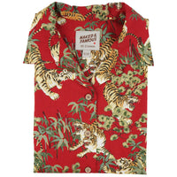 Women's - Camp Collar Shirt - Japanese Tigers - Red - front collar view