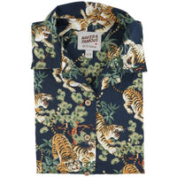Women's - Camp Collar Shirt - Japanese Tigers - Navy - front collar view