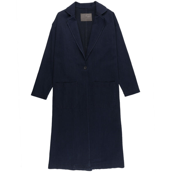 Women's Duster Coat - Indigo x Black Stretch Denim - front