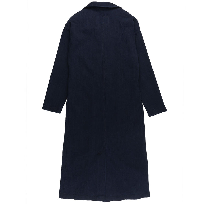 Women's Duster Coat - Indigo x Black Stretch Denim - back