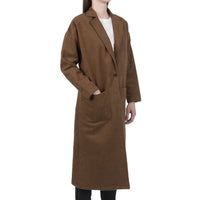 Women's Duster Coat - Cotton Melton - Rust - side