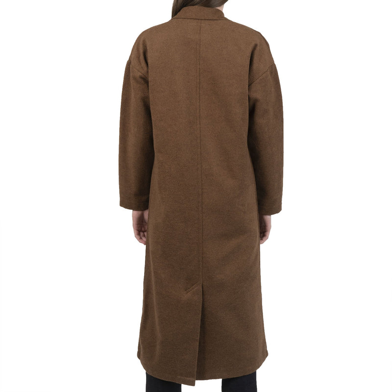 Women's Duster Coat - Cotton Melton - Rust - back