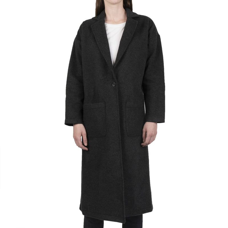 Women's Duster Coat - Cotton Melton - Charcoal - front