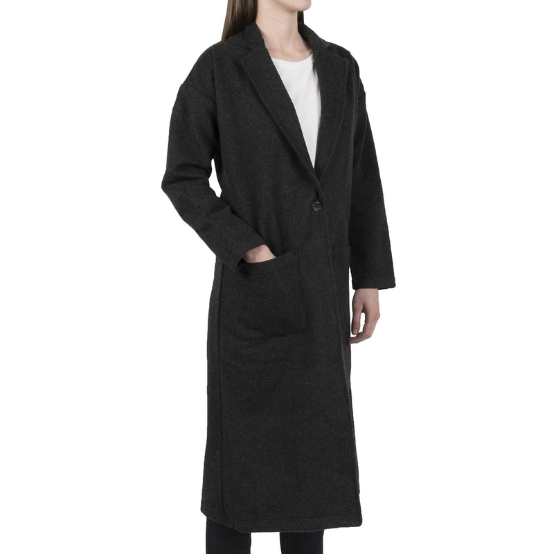 Women's Duster Coat - Cotton Melton - Charcoal - side