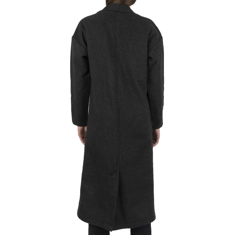 Women's Duster Coat - Cotton Melton - Charcoal - back