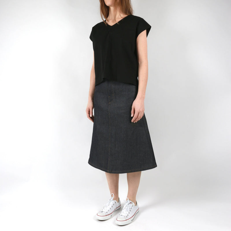 Women's - Boxy Top - Rinsed Oxford - Black | Naked & Famous Denim