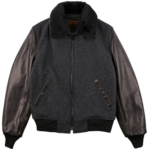 Schott B-15 Wool Bomber Jacket with Leather Sleeves
