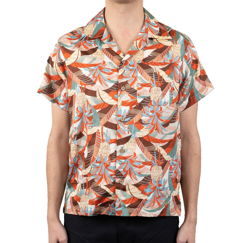 Aloha Shirt - Jungle Vacation - Orange / Teal - front shot