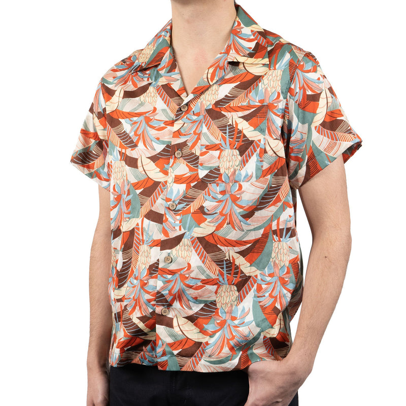 Aloha Shirt - Jungle Vacation - Orange / Teal - side shot