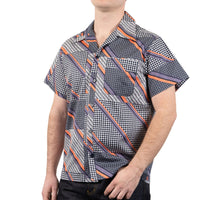 Aloha Shirt - Retro Wave - Navy / Purple / Pink - side shot