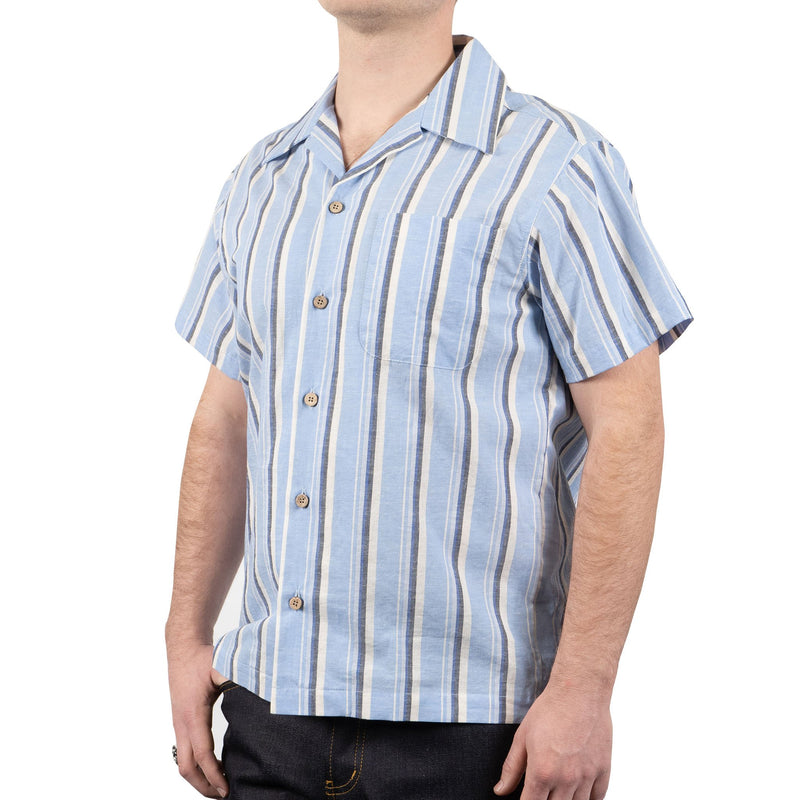 Aloha Shirt - Cambric stripes - Pale Blue
