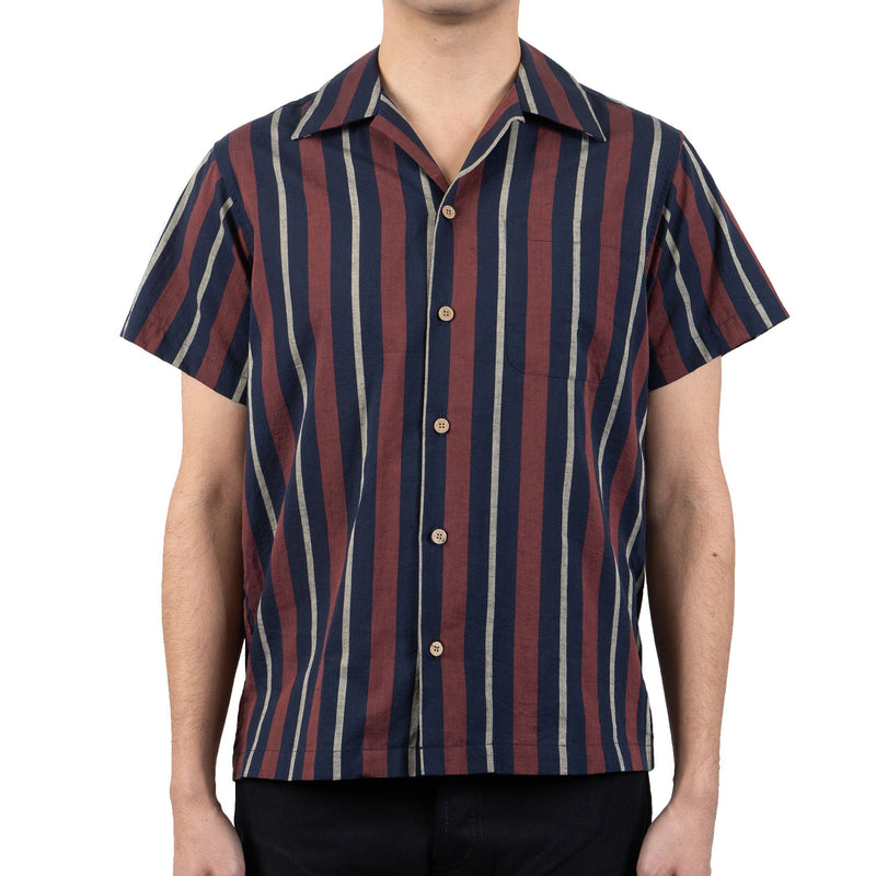 Aloha Shirt - Cambric Stripes - Navy / Brick - front shot