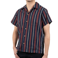 Aloha Shirt - Cambric Stripes - Navy / Brick - side shot