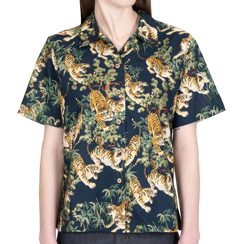 Women's - Camp Collar Shirt - Japanese Tigers - Navy - front