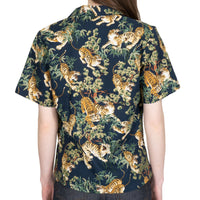 Women's - Camp Collar Shirt - Japanese Tigers - Navy - back