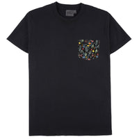 Pocket Tee - Black + Pastel Flower - Front