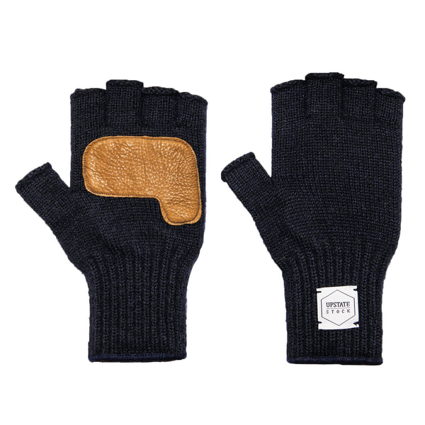 Fingerless Ragg Wool Gloves - Navy Melange With Natural Deerskin | Upstate Stock