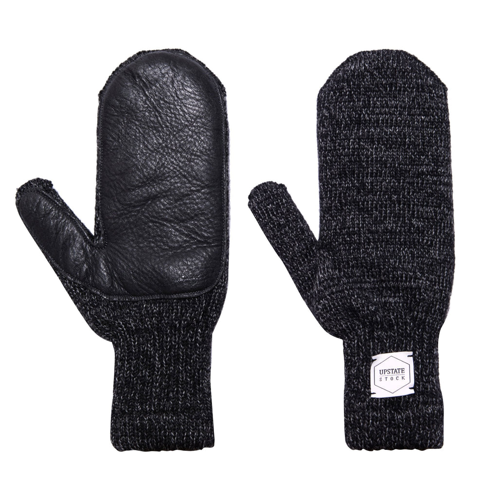 Black Wool Mittens Made in USA by Upstate Stock