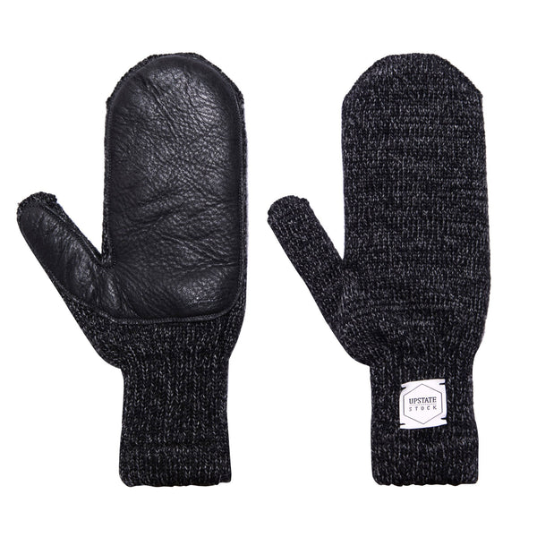 Ragg Wool Mitten - Black Melange With Black Deerskin | Upstate Stock
