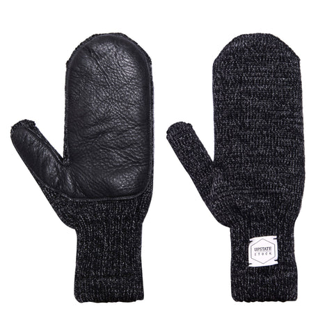 Black Wool Mittens Made in USA