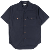 Burgus Plus - SS Open Collar Panama Shirt Navy - front