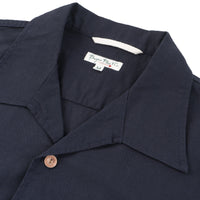 Burgus Plus - SS Open Collar Panama Shirt Navy - collar
