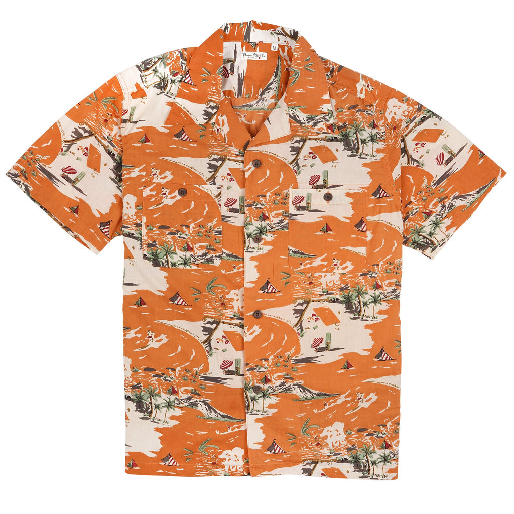 BP19504-OR -Short Sleeve Open Collar Shirt - Orange