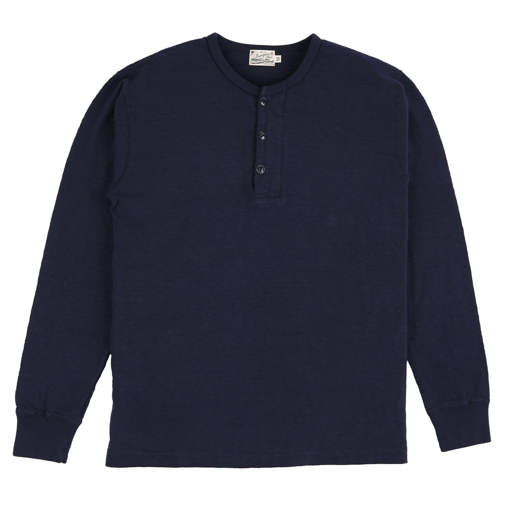 HBP-010-NV - Long Sleeve Henley Neck Tee - Navy