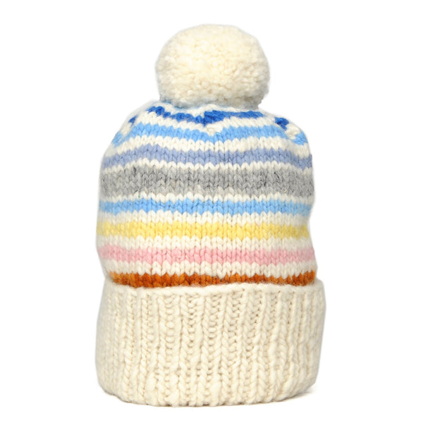 Double Cuff Cap Stripe Ivory Multi