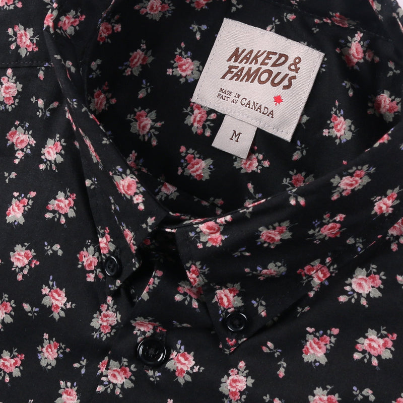 Short Sleeve Easy Shirt - Flower Print - Black
