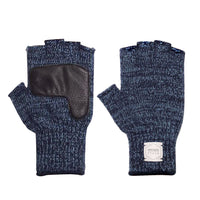 Fingerless Ragg Wool Gloves - Denim Melange With Black Deerskin | Upstate Stock