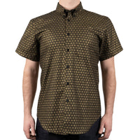 Short Sleeve Easy Shirt - Japanese Golden Kimono Pattern - front shot