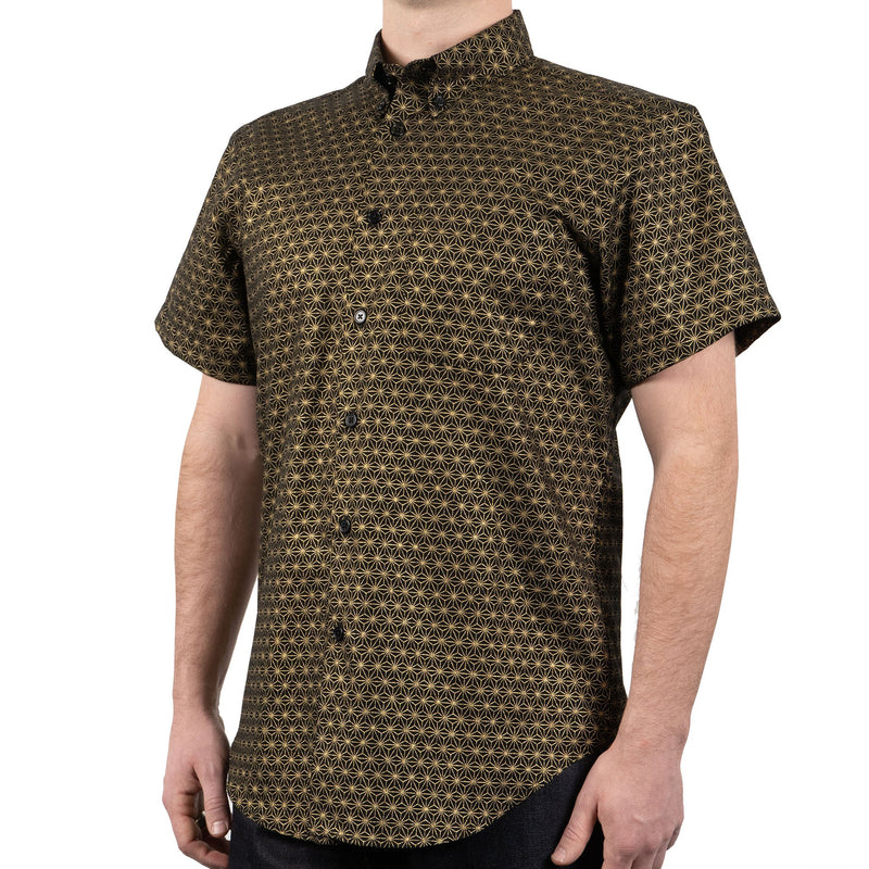 Short Sleeve Easy Shirt - Japanese Golden Kimono Pattern - side shot