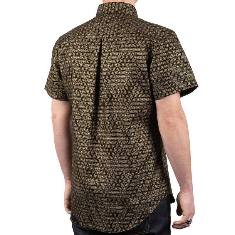 Short Sleeve Easy Shirt - Japanese Golden Kimono Pattern - back shot